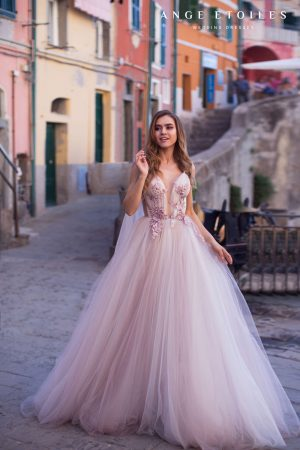 Petunia wedding dress with cape sleeves