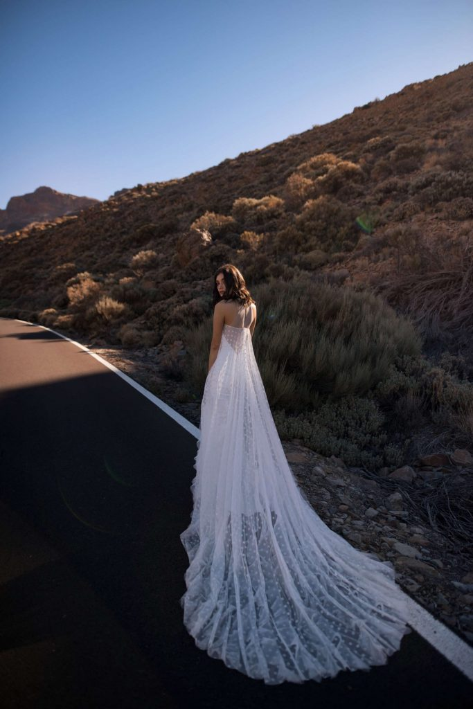 The Kolett – a velvet example of Dell'Amore Bridal's beach wedding dresses, from the Dream Ocean collection