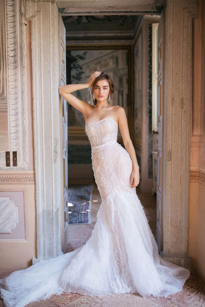 Kemeron wedding dress from Dell'Amore Bridal's Waterfall Collection. Auckland Bridal Boutique