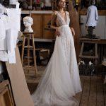 A-line wedding dress with deep v-neckline from Rara Avis Designer